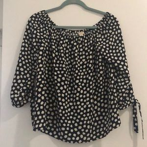 J Crew Factory Off Shoulder Polka Dot Top